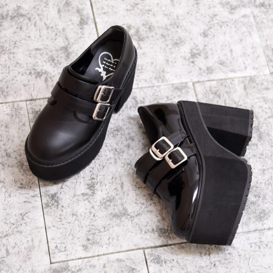 靴 シューズ レディース 厚底 マニッシュ ストラップ ベルト タンクヒール 黒 履きやすい 個性的ダブルベルト ブラック 黒 合皮 原宿 可愛い コスプレ 盛れる 人気 NOFALL sango ノーフォール サンゴ 21546 2