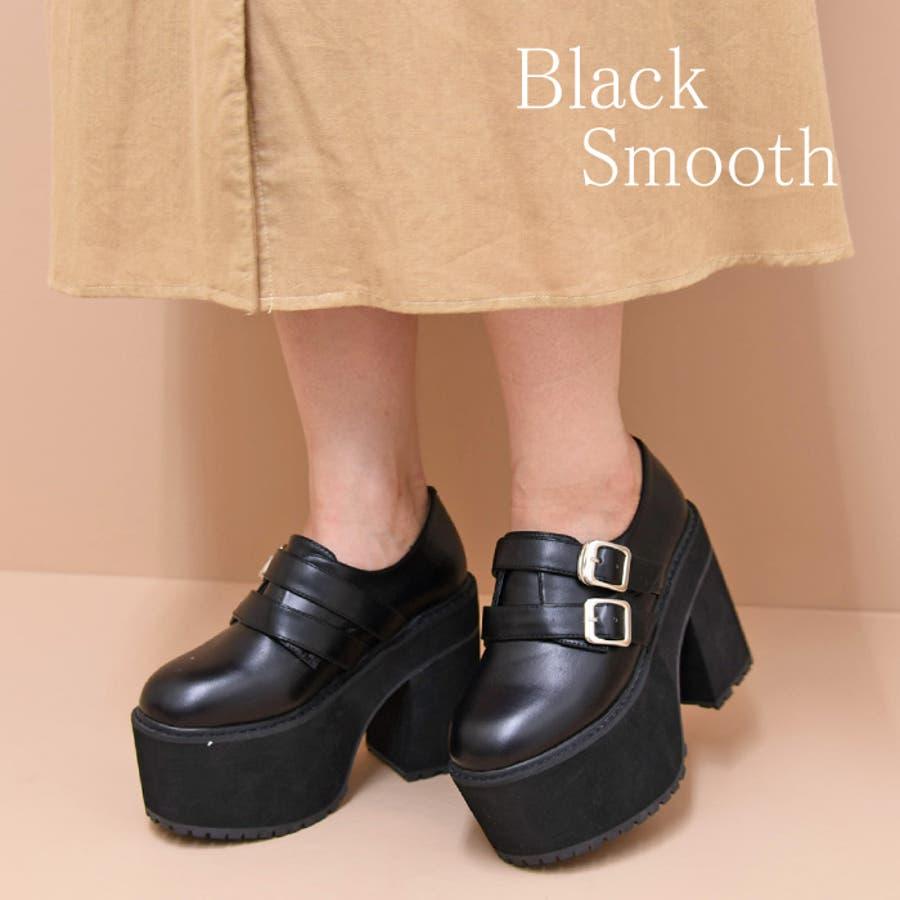 靴 シューズ レディース 厚底 マニッシュ ストラップ ベルト タンクヒール 黒 履きやすい 個性的ダブルベルト ブラック 黒 合皮 原宿 可愛い コスプレ 盛れる 人気 NOFALL sango ノーフォール サンゴ 21546 4