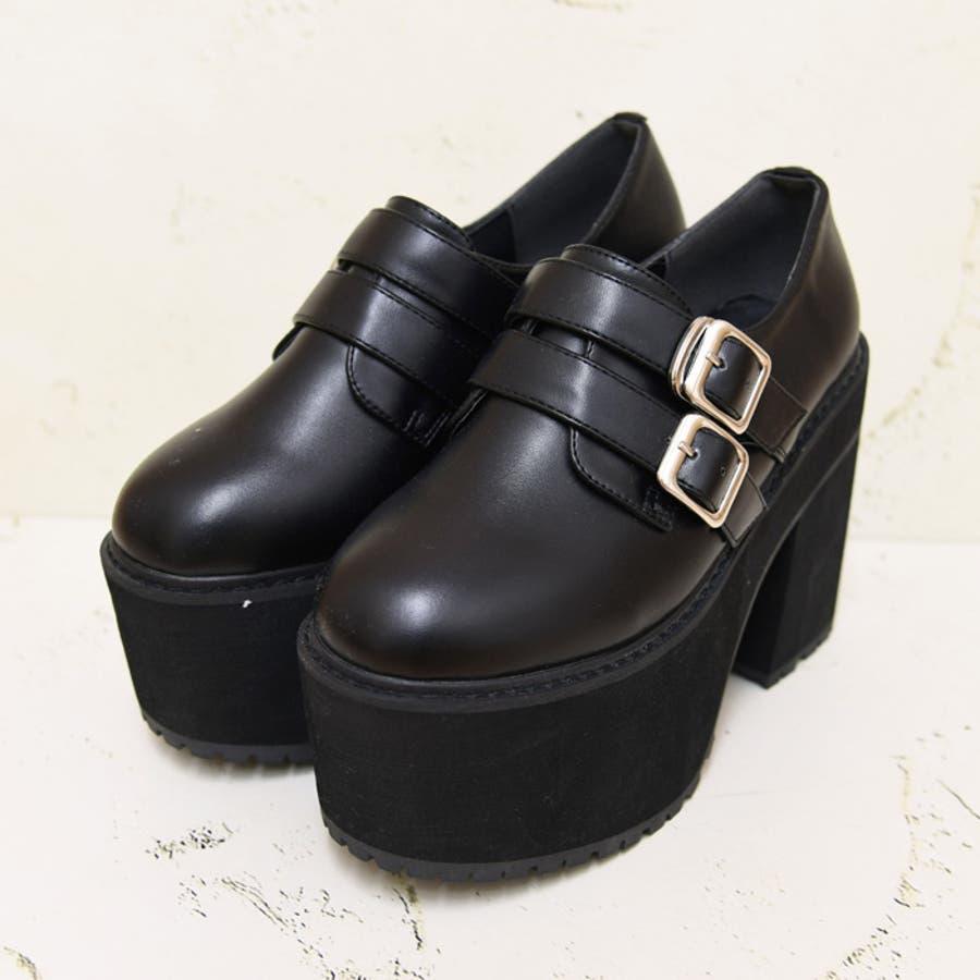 靴 シューズ レディース 厚底 マニッシュ ストラップ ベルト タンクヒール 黒 履きやすい 個性的ダブルベルト ブラック 黒 合皮 原宿 可愛い コスプレ 盛れる 人気 NOFALL sango ノーフォール サンゴ 21546 5