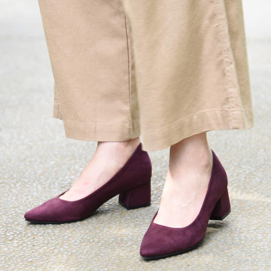 靴 レディース パンプス シンプル チャンキーヒール おしゃれ かわいい 大人っぽい きれいめ 履きやすい アーモンドトゥ ブラック ベージュ グレー 黒 秋 NOFALL SANGO 21539 5