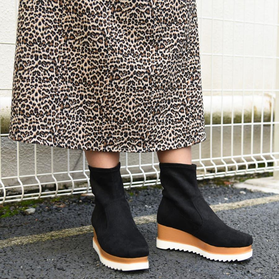 靴 シューズ レディース 厚底 ショートブーツ 可愛い ブーツ スニーカー ウェッジソール 歩きやすいスクエアトゥ ブラック 黒 合皮 スエード おしゃれ 盛れる 人気 NOFALL sango ノーフォール サンゴ 21596 1