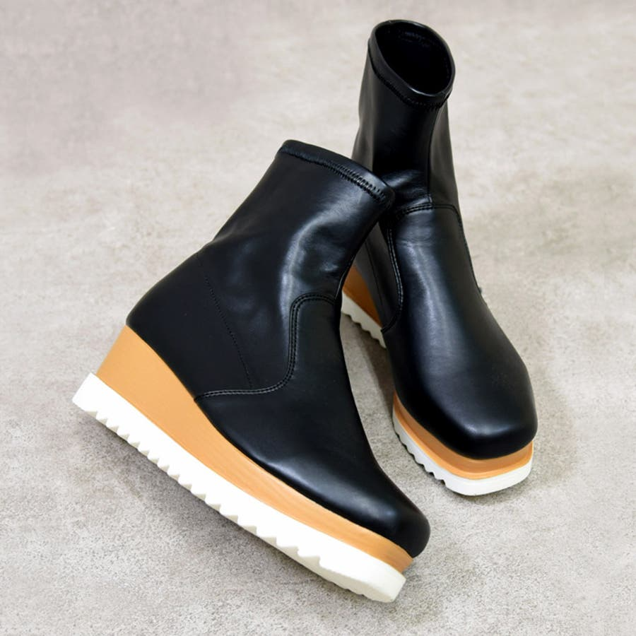 靴 シューズ レディース 厚底 ショートブーツ 可愛い ブーツ スニーカー ウェッジソール 歩きやすいスクエアトゥ ブラック 黒 合皮 スエード おしゃれ 盛れる 人気 NOFALL sango ノーフォール サンゴ 21596 2