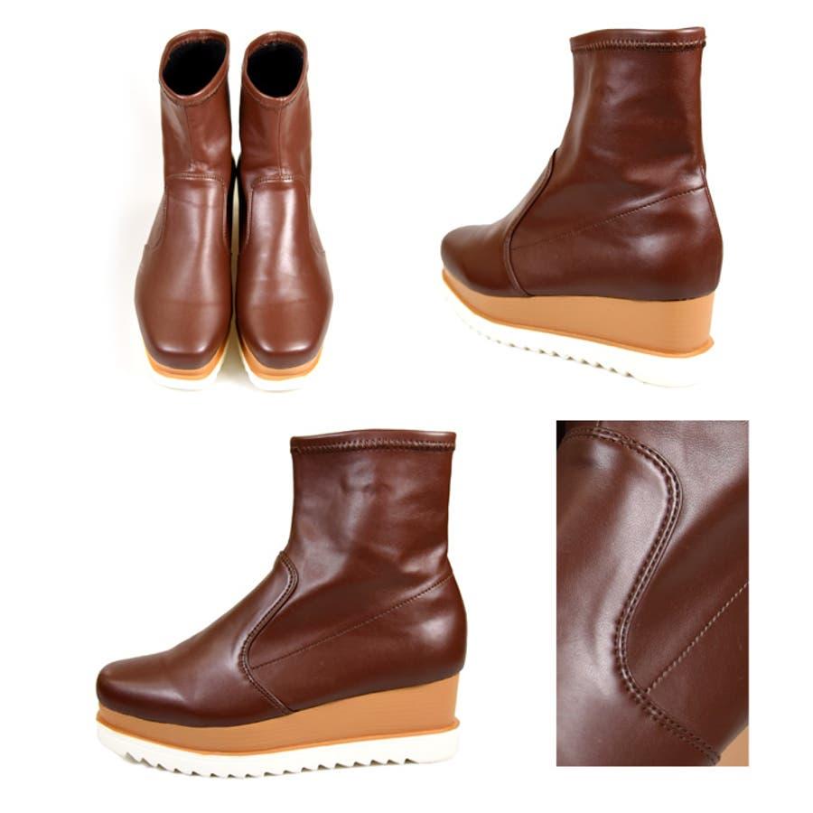 靴 シューズ レディース 厚底 ショートブーツ 可愛い ブーツ スニーカー ウェッジソール 歩きやすいスクエアトゥ ブラック 黒 合皮 スエード おしゃれ 盛れる 人気 NOFALL sango ノーフォール サンゴ 21596 10