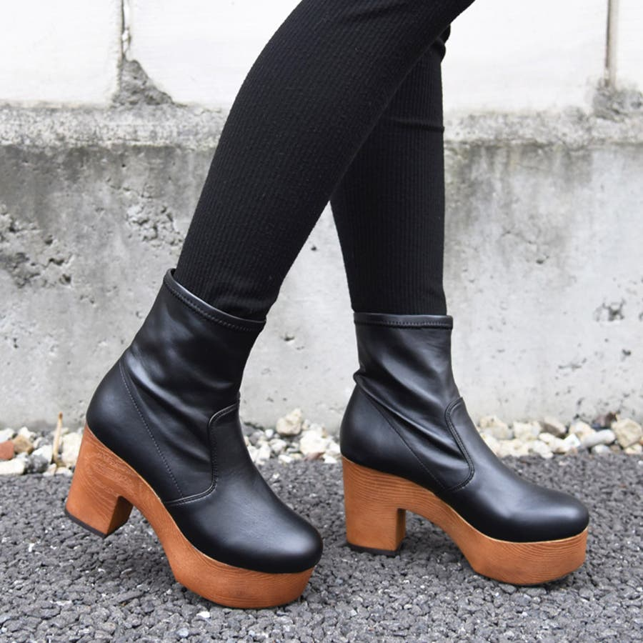 靴 シューズ レディース 厚底 ショートブーツ 可愛い ブーツ 木底 歩きやすい ストレッチ ラウンドトゥブラック 黒 合皮 スエード おしゃれ 人気 NOFALL sango ノーフォール サンゴ 21548 1