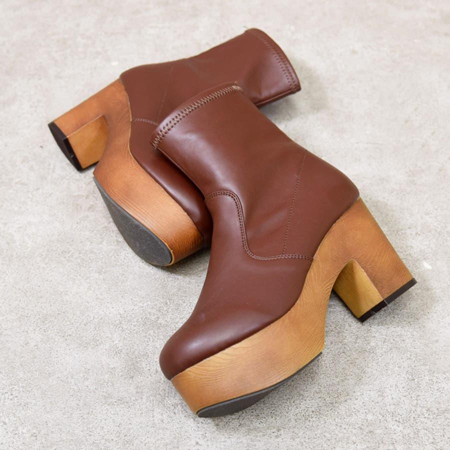 靴 シューズ レディース 厚底 ショートブーツ 可愛い ブーツ 木底 歩きやすい ストレッチ ラウンドトゥブラック 黒 合皮 スエード おしゃれ 人気 NOFALL sango ノーフォール サンゴ 21548 2