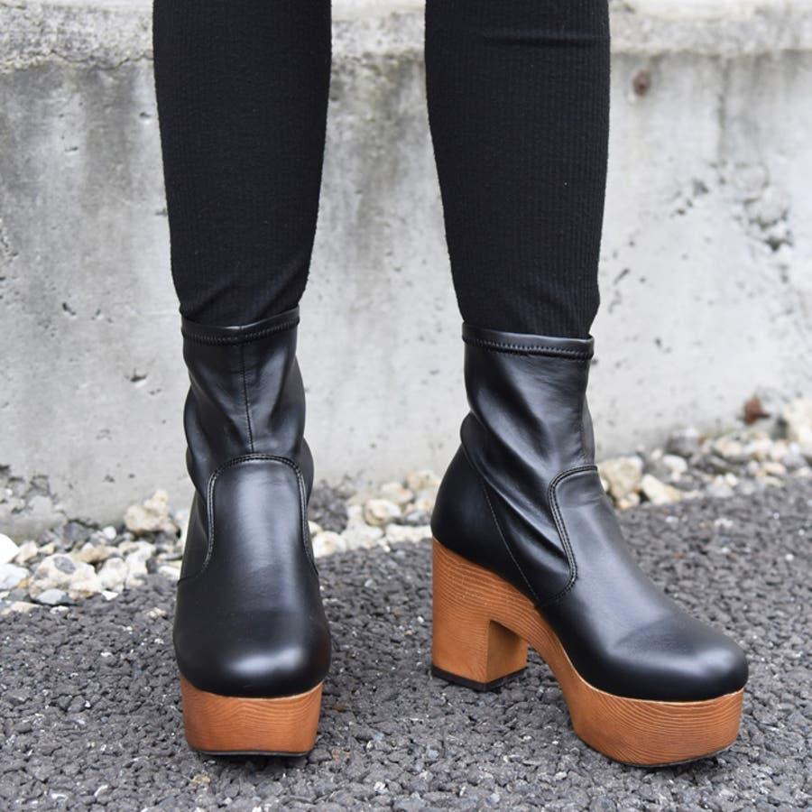 靴 シューズ レディース 厚底 ショートブーツ 可愛い ブーツ 木底 歩きやすい ストレッチ ラウンドトゥブラック 黒 合皮 スエード おしゃれ 人気 NOFALL sango ノーフォール サンゴ 21548 21