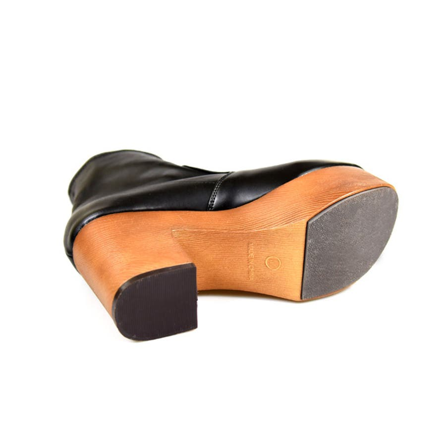 靴 シューズ レディース 厚底 ショートブーツ 可愛い ブーツ 木底 歩きやすい ストレッチ ラウンドトゥブラック 黒 合皮 スエード おしゃれ 人気 NOFALL sango ノーフォール サンゴ 21548 8