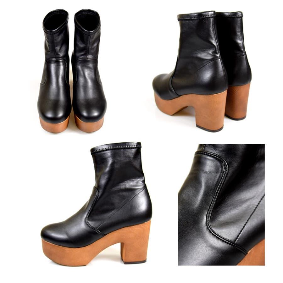 靴 シューズ レディース 厚底 ショートブーツ 可愛い ブーツ 木底 歩きやすい ストレッチ ラウンドトゥブラック 黒 合皮 スエード おしゃれ 人気 NOFALL sango ノーフォール サンゴ 21548 10