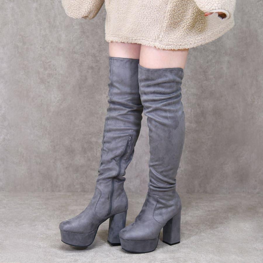 靴 レディース ブーツ ニーハイブーツ 厚底 ロングブーツ トレンド 黒 歩きやすい スエード 太ヒール大人っぽい 可愛い 人気 ブラック ベージュ ブラウン グレー NOFALL sango ノーフォール サンゴ 21591 1