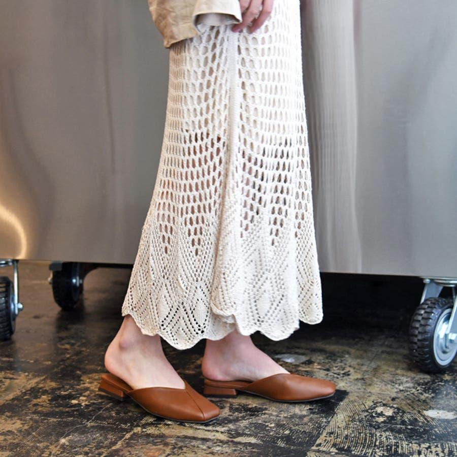 靴 レディース シューズ ミュール パンプス スクエアトゥ フラット おしゃれ かわいい 大人 ローヒール 黒 ブラック 合皮NOFALL SANGO サンゴ ノーフォール 21683 5