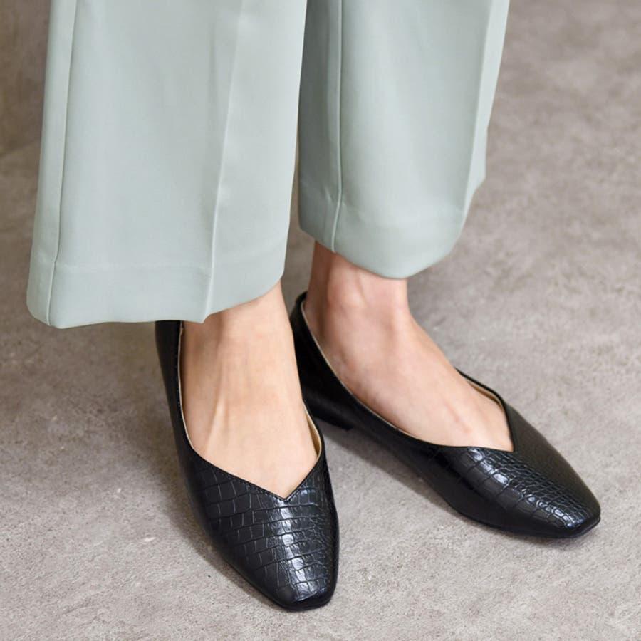 レディース 靴 パンプス フラットぺたんこ おしゃれ 可愛い スクエアトゥ Vカット 黒 ブラック キャメル ベージュ クロコ NOFALL SANGO サンゴノーフォール 21687 2