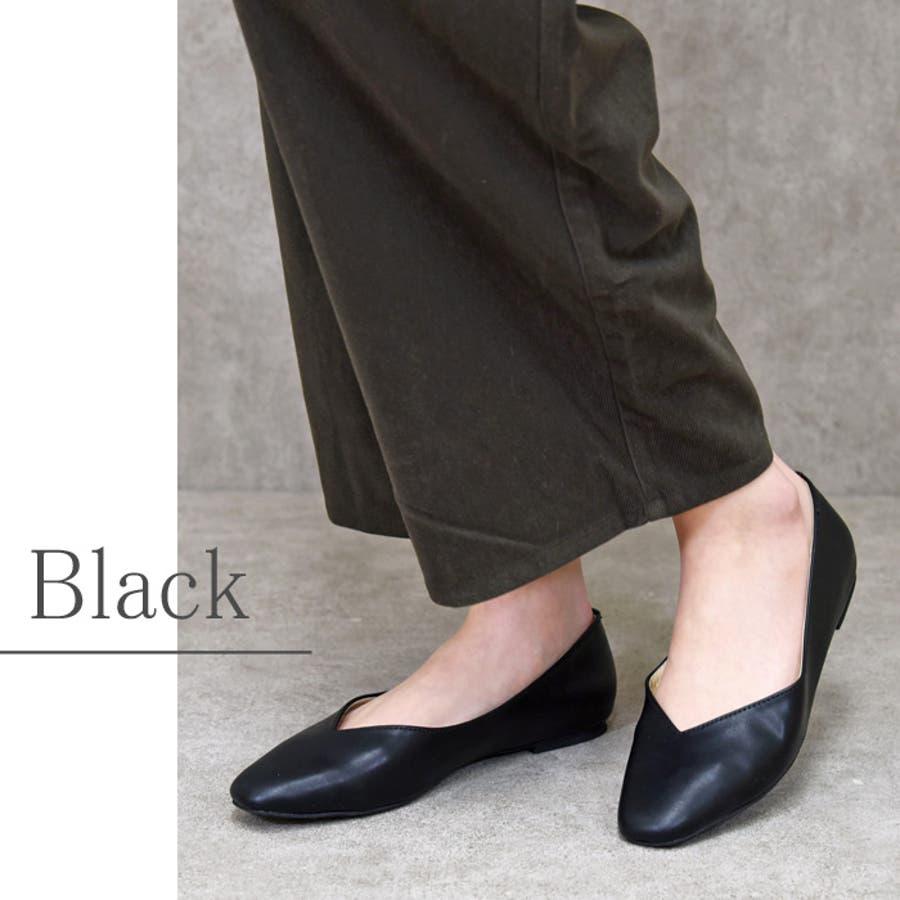 レディース 靴 パンプス フラットぺたんこ おしゃれ 可愛い スクエアトゥ Vカット 黒 ブラック キャメル ベージュ クロコ NOFALL SANGO サンゴノーフォール 21687 21