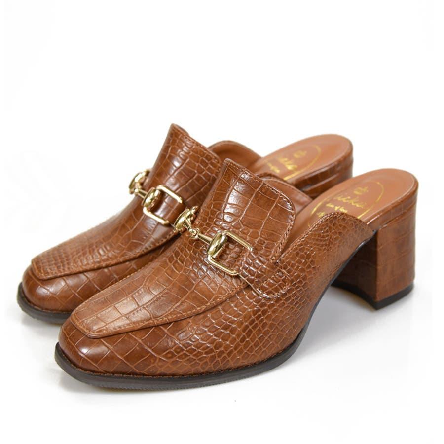 靴 レディース シューズ ミュール クロコビット スリッパ おじ靴 婦人靴 かわいい OL ローファー ママ ブラック ブラウン NOFALL SANGO サンゴ ノーフォール 21702 29