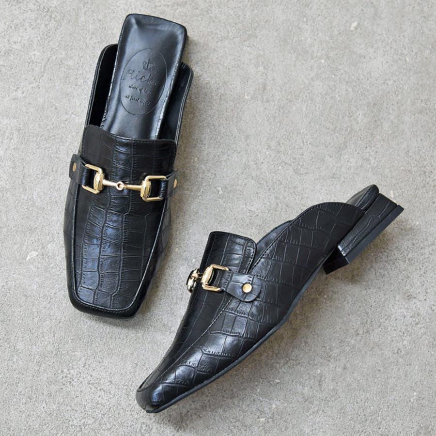 靴 レディース シューズ ミュールパンプス スクエアトゥ ビット おしゃれ かわいい 大人 ローヒール 黒 ブラック クロコ NOFALL SANGO サンゴノーフォール 21668 2