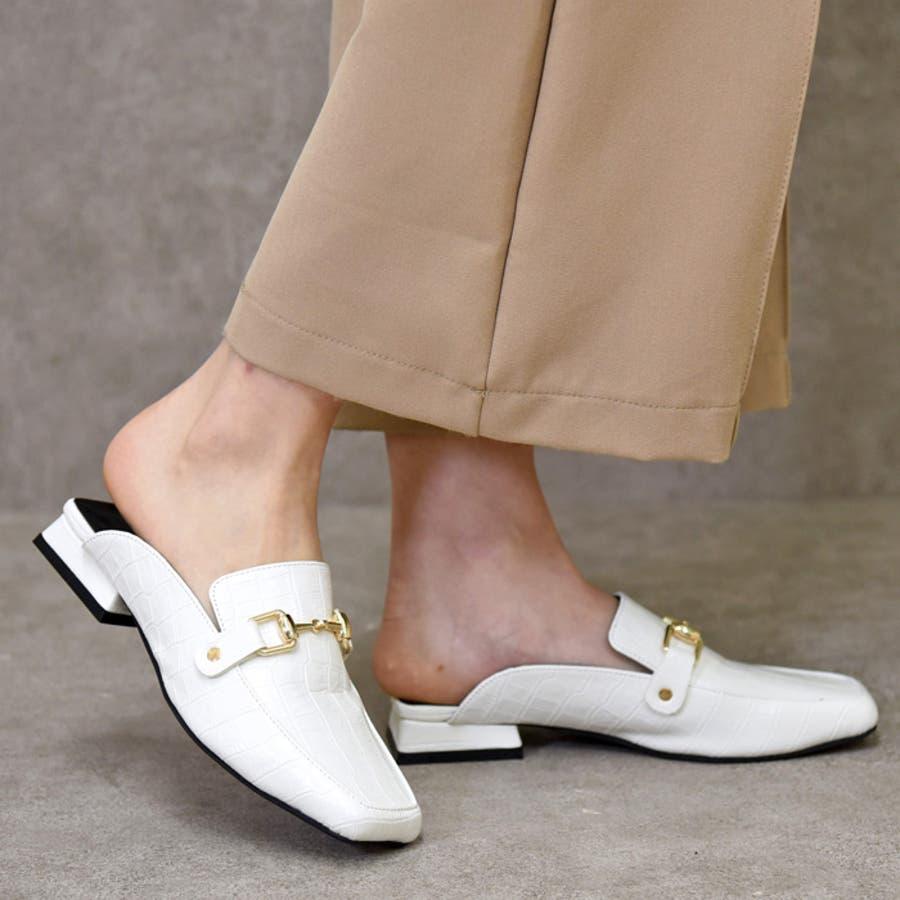 靴 レディース シューズ ミュールパンプス スクエアトゥ ビット おしゃれ かわいい 大人 ローヒール 黒 ブラック クロコ NOFALL SANGO サンゴノーフォール 21668 5