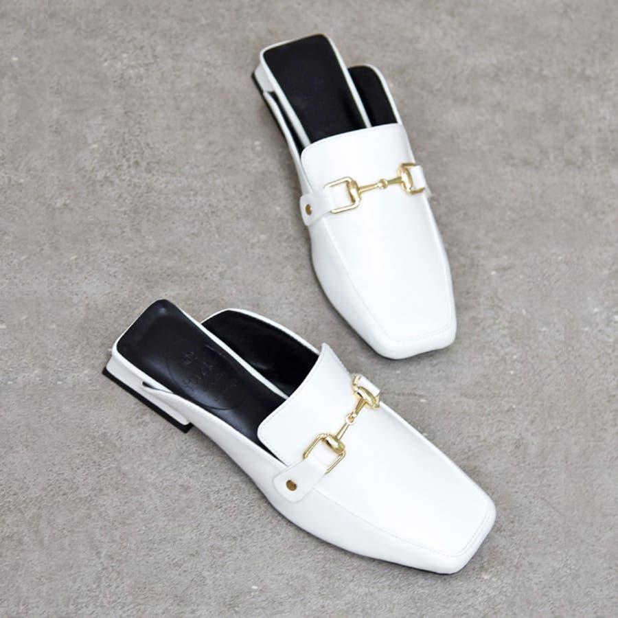 靴 レディース シューズ ミュールパンプス スクエアトゥ ビット おしゃれ かわいい 大人 ローヒール 黒 ブラック クロコ NOFALL SANGO サンゴノーフォール 21668 8