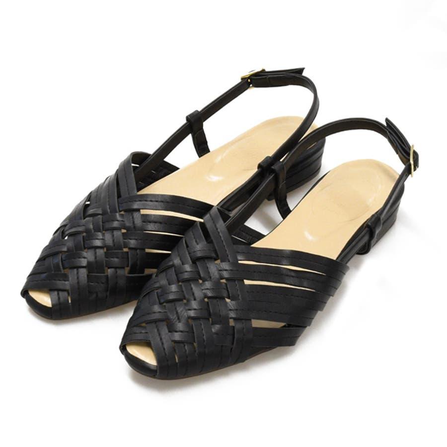 サンダル レディース クロス編み メッシュぺたんこ フラット スクエア 編み込み 疲れにくい 2cmヒール バックストラップ ブラック 靴 NOFALL sangoノーフォール サンゴ 21660 21