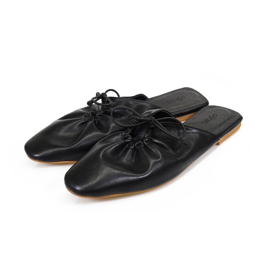 靴 レディース ミュール ギャザー 履きやすい おしゃれ ブラック ベージュ ブラウングレージュ 淡色コーデ スリッパ 大人女子 大人カジュアルコーデ 秋冬 クッションソール ローヒール サンゴ ノーフォール 21857 21