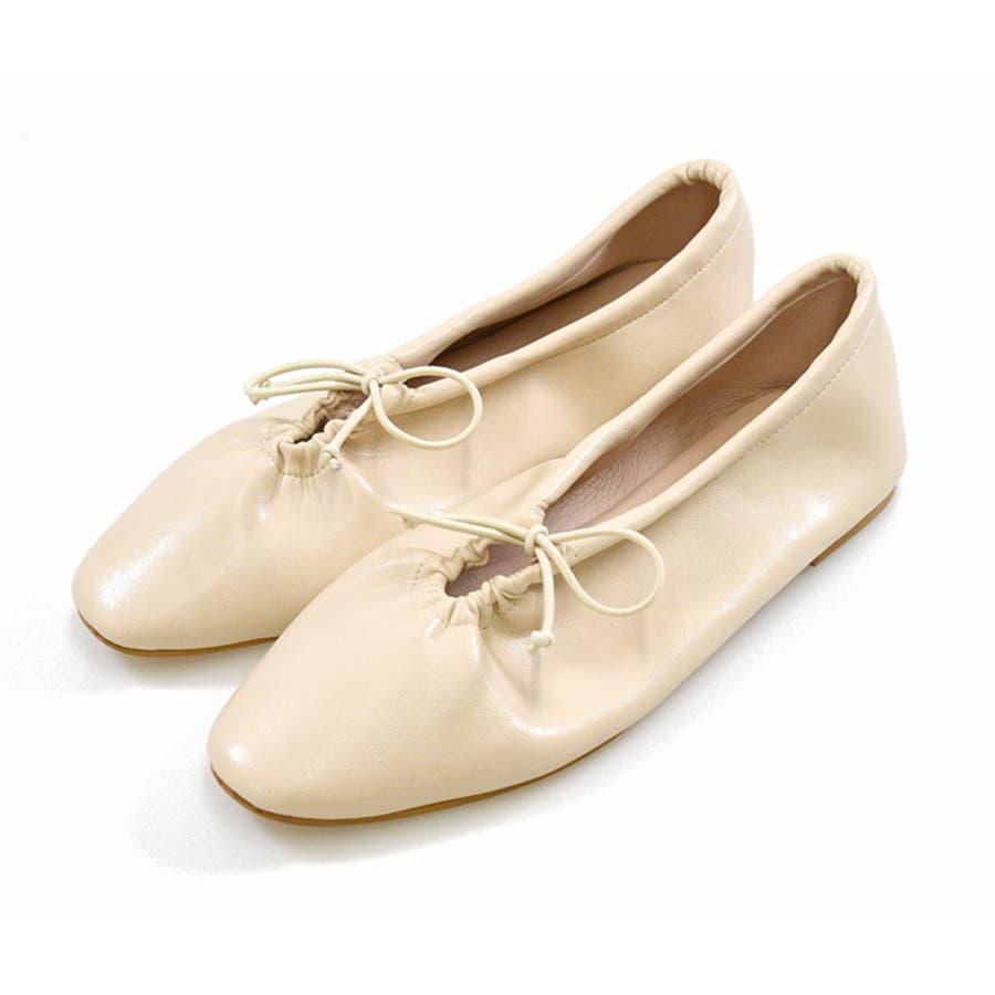 靴 シャーリング バレエ リボン フラット フロントリボン パンプス ラウンドトゥ トレンド シンプルカジュアル 淡色コーデ 履きやすい 柔らかい ブラック ベージュ ブラウン グレージュ 大人女子 韓国ファッション 秋 NOFALL 21777 41