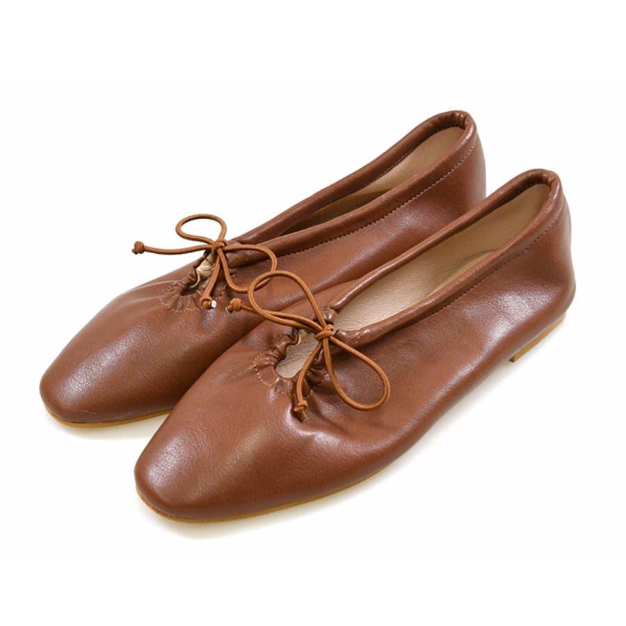 靴 シャーリング バレエ リボン フラット フロントリボン パンプス ラウンドトゥ トレンド シンプルカジュアル 淡色コーデ 履きやすい 柔らかい ブラック ベージュ ブラウン グレージュ 大人女子 韓国ファッション 秋 NOFALL 21777 29
