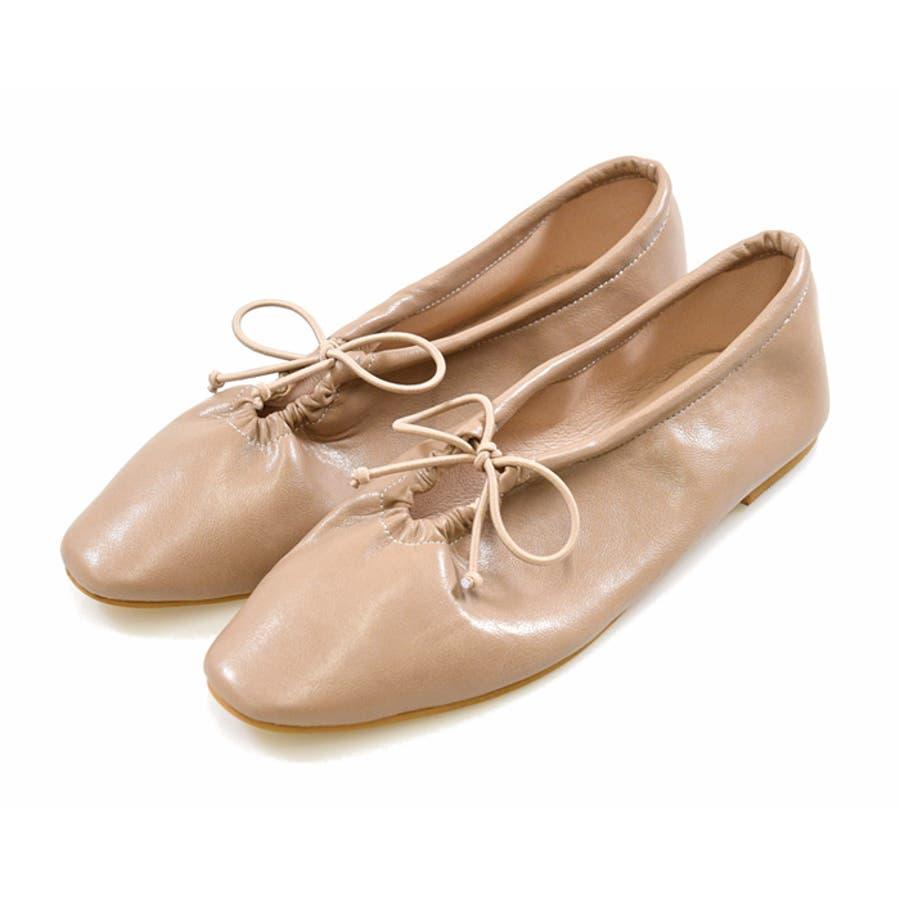 靴 シャーリング バレエ リボン フラット フロントリボン パンプス ラウンドトゥ トレンド シンプルカジュアル 淡色コーデ 履きやすい 柔らかい ブラック ベージュ ブラウン グレージュ 大人女子 韓国ファッション 秋 NOFALL 21777 110
