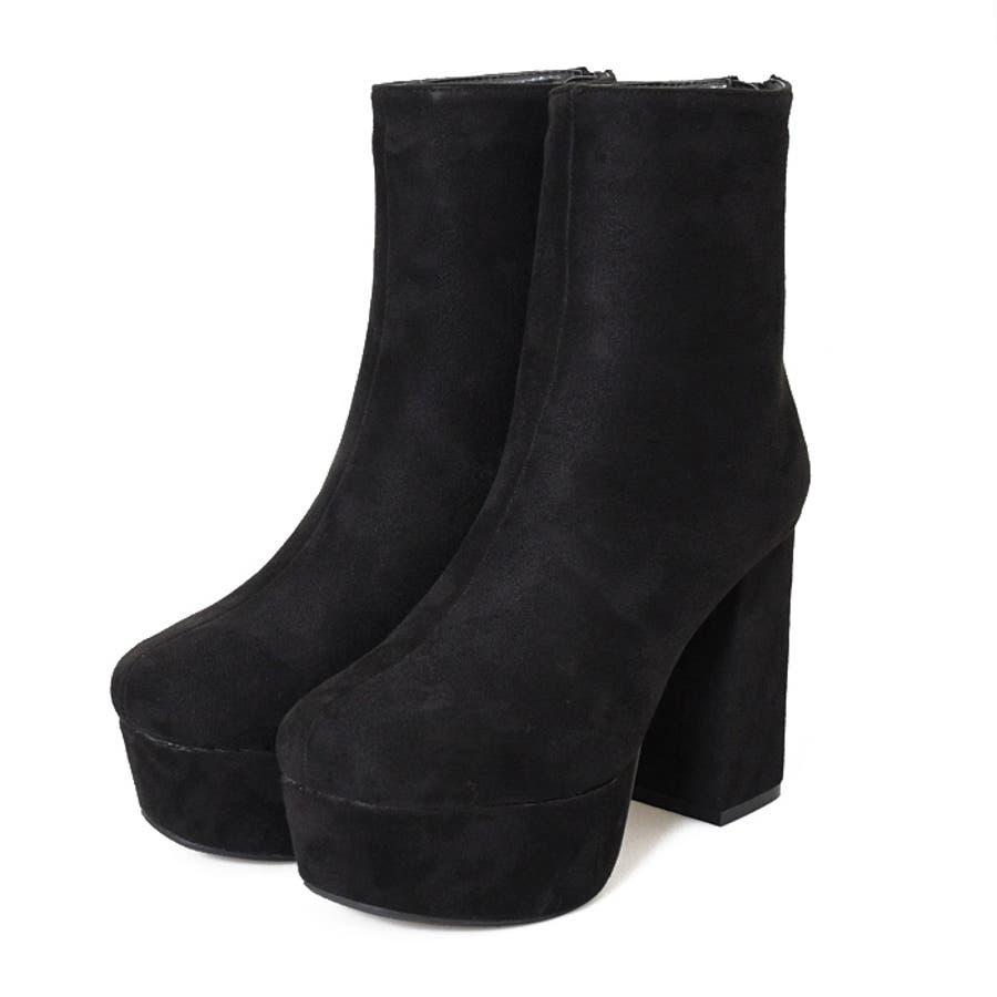 ブーツ プラットフォーム 厚底 美脚 靴 レディース トレンド シンプル カジュアル 痛くない 脚長大きいサイズ 小さいサイズ 秋冬 スクエアトゥ スエード クロコ 合皮 おしゃれ ブラック アイボリー 白 NOFALL21864 4