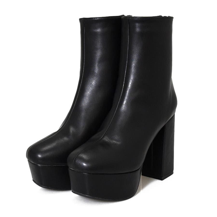 ブーツ プラットフォーム 厚底 美脚 靴 レディース トレンド シンプル カジュアル 痛くない 脚長大きいサイズ 小さいサイズ 秋冬 スクエアトゥ スエード クロコ 合皮 おしゃれ ブラック アイボリー 白 NOFALL21864 6