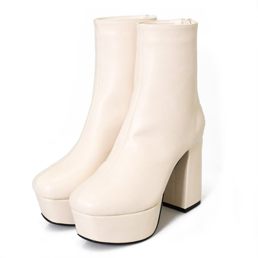 ブーツ プラットフォーム 厚底 美脚 靴 レディース トレンド シンプル カジュアル 痛くない 脚長大きいサイズ 小さいサイズ 秋冬 スクエアトゥ スエード クロコ 合皮 おしゃれ ブラック アイボリー 白 NOFALL21864 2