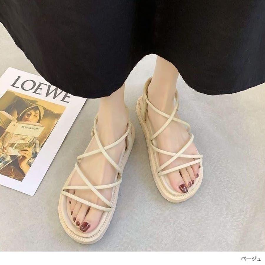 靴 ストリングサンダル ストラップ ヒール レディース プラットフォームサンダル 楽ちん トレンドシンプル カジュアル 淡色コーデ 履きやすい ブラック ベージュ スリッパ 大人女子 夏 リゾート アウトドア NOFALL 878 6