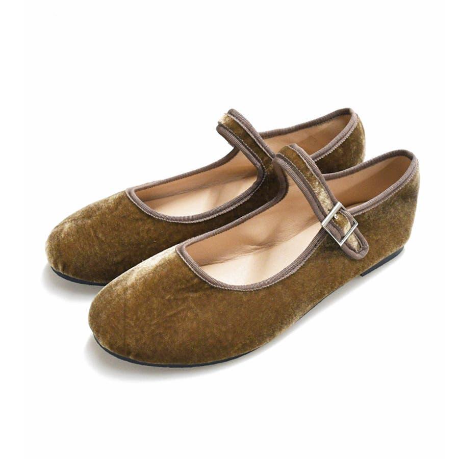 靴 レディース シューズ バレエシューズベロア エナメル ストラップ パンプス 可愛い カンフー フラット 靴下 ブラック ブラウン NOFALL SANGO ノーフォール 21760 29