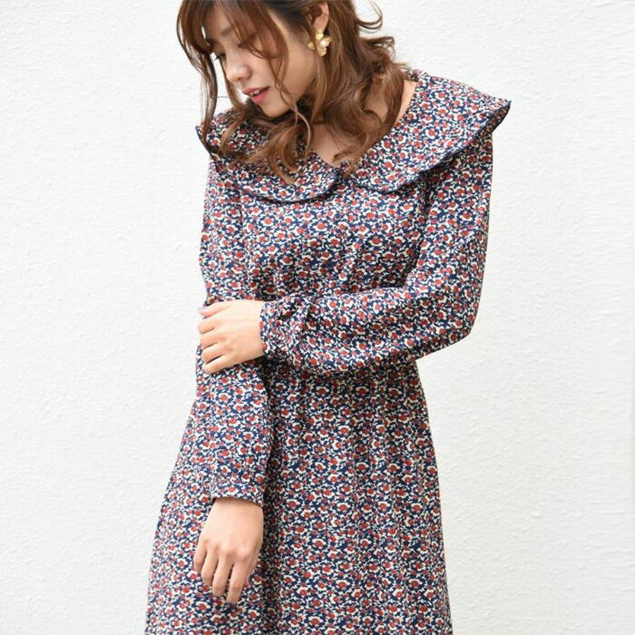 2420e15a81d41  デシン小花柄フリル襟ワンピース 襟付きワンピース レディース かわいい トレンド 長袖 洋服
