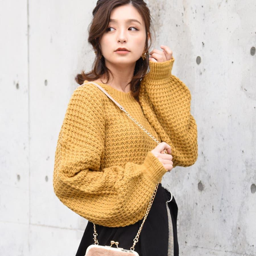 ワッフル編みクルーネックニット おしゃれかわいい レディース 85