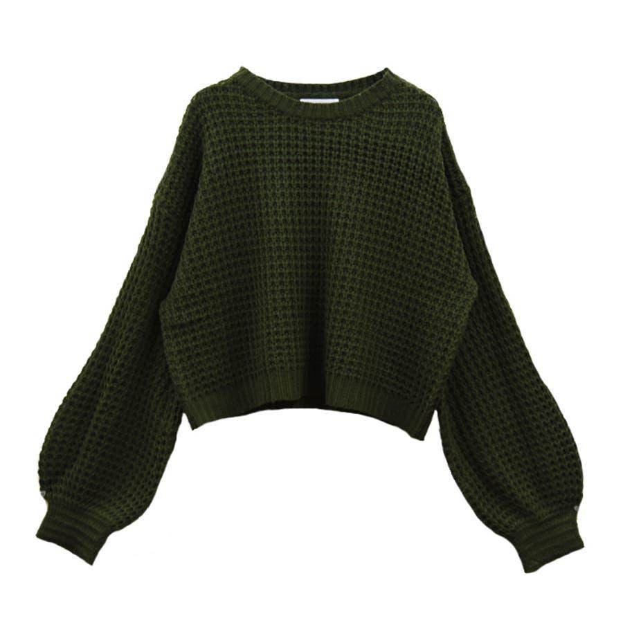 ワッフル編みクルーネックニット おしゃれかわいい レディース 53
