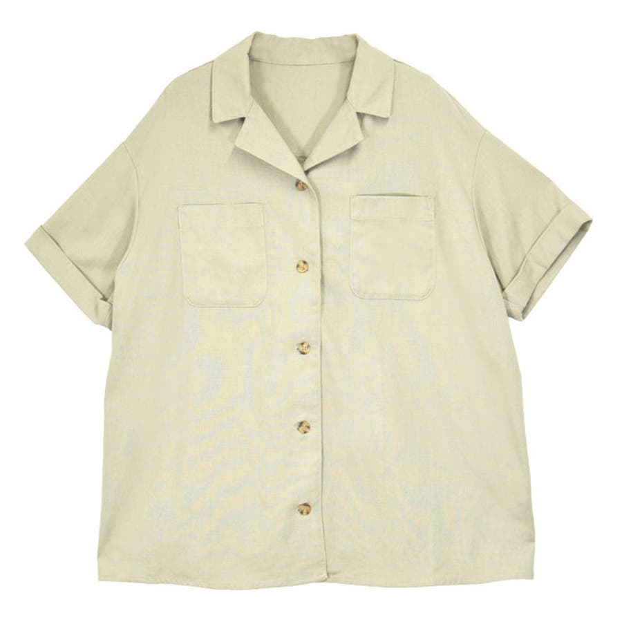 リネンオープンカラーシャツ オーバーシャツ レディース オープンカラー シャツ シンプル 上品 華奢見え映え 春 夏 アイボリー ベージュ キャメル ピスタチオ トレンド トップス 大人 プチプラ サンゴ ノーフォール sangonofall 200002 108