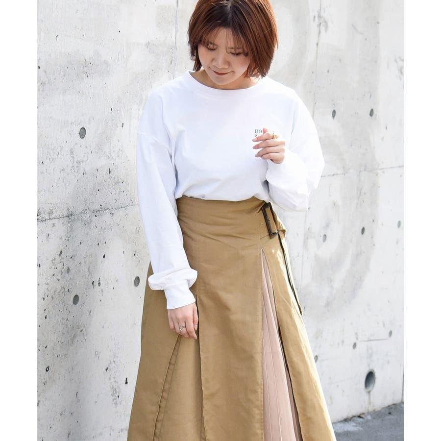 ツイル×トロピカルプリーツ切替スカート ロング レディース 8