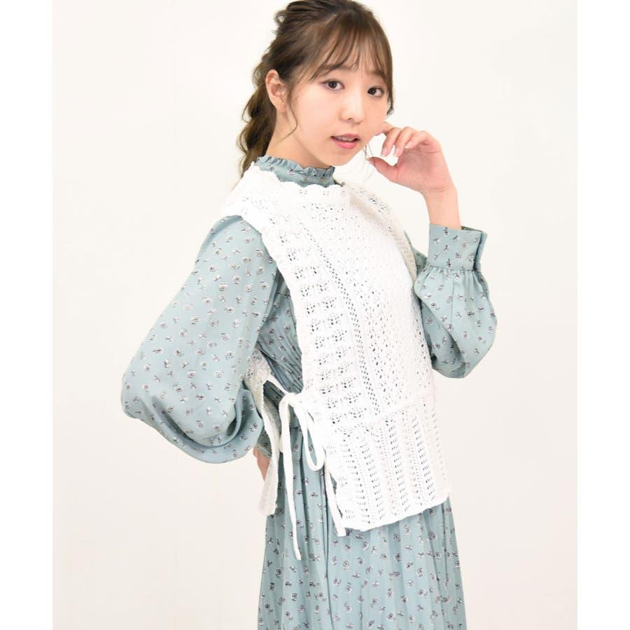 透かし編みニットベスト 春服 リボン 17