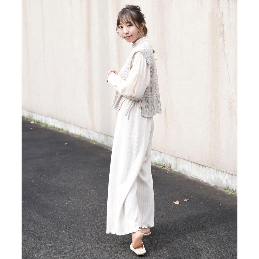 透かし編みニットベスト 春服 リボン 5