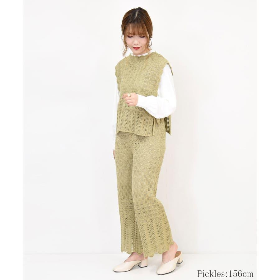 透かし編みニットベスト 春服 リボン 8