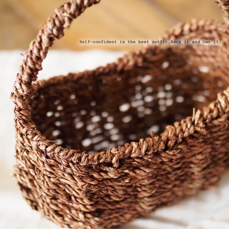 かごバッグ 女性 ヒヤシンス かご カゴ シンプル ブラウン バスケット インテリア 天然素材 2