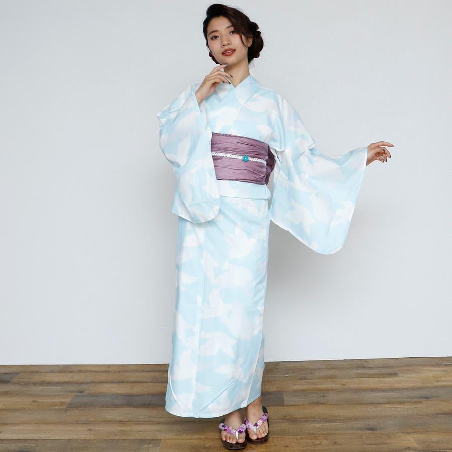 女性浴衣 レディース浴衣 浴衣 単品 浴衣単品 レトロ 仕立て上がり 女性用 フリー  ホワイト 白 青 ブルー 2