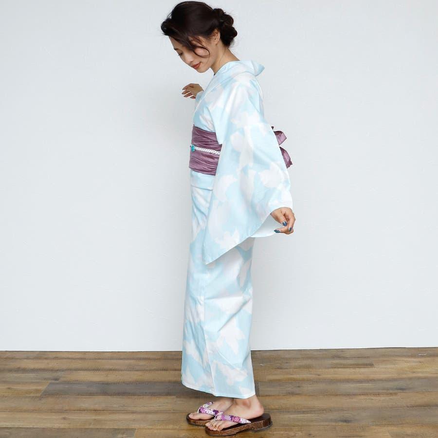 女性浴衣 レディース浴衣 浴衣 単品 浴衣単品 レトロ 仕立て上がり 女性用 フリー  ホワイト 白 青 ブルー 3