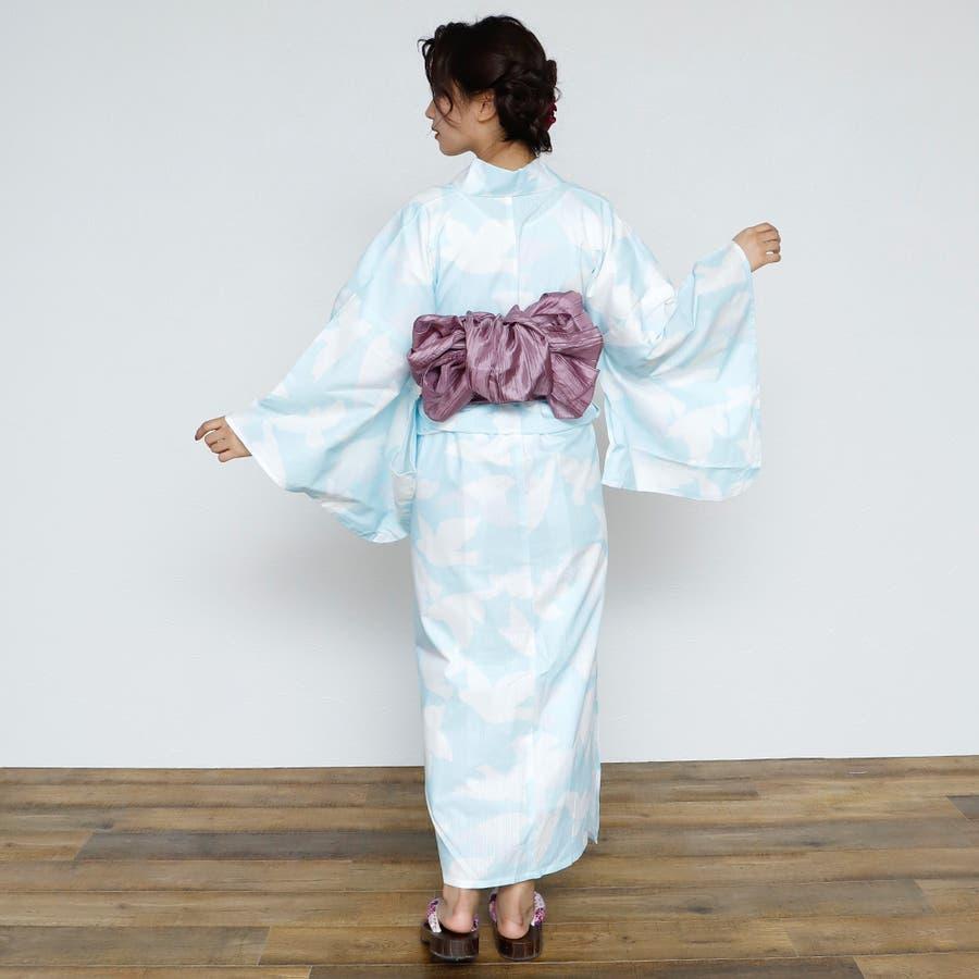 女性浴衣 レディース浴衣 浴衣 単品 浴衣単品 レトロ 仕立て上がり 女性用 フリー  ホワイト 白 青 ブルー 4