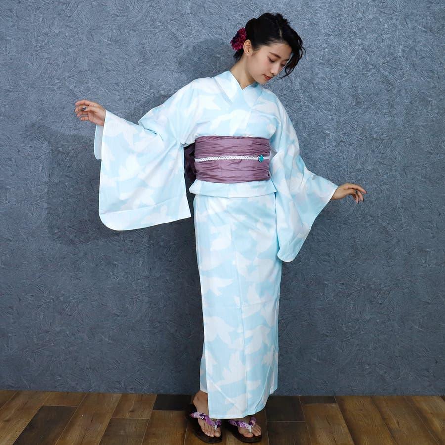 女性浴衣 レディース浴衣 浴衣 単品 浴衣単品 レトロ 仕立て上がり 女性用 フリー  ホワイト 白 青 ブルー 6