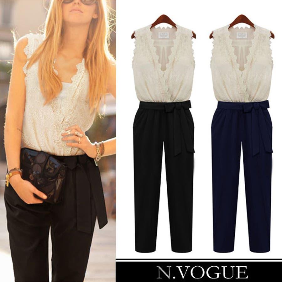 N.Vogue(エヌヴォーグ)フェミニンレースブラウスジャンプスーツ オールインワン パンツ ドレス コンビネゾン