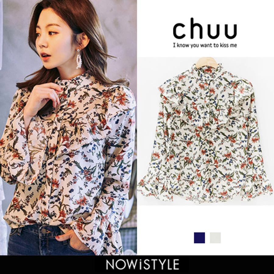 CHUU(チュー)ボタニカルブラウス 韓国韓国ファッション ブラウス 花柄 トップス シャツ ボタニカル柄