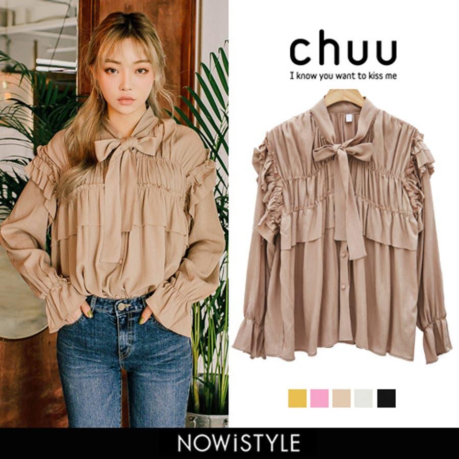 CHUU(チュー)ビンテージリボンフリルブラウス韓国 ファッション ブラウス トップス フリル リボン 春ファッション