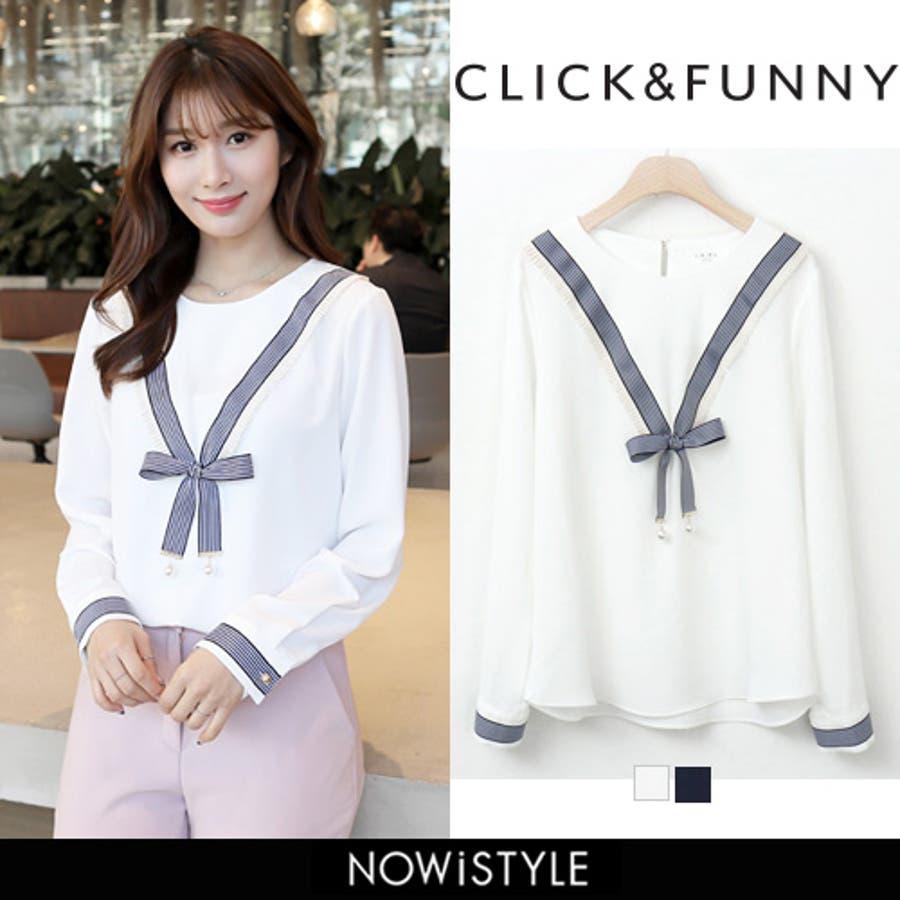 CLICKFUNNY(クリックアンドファニー)リボンシフォンブラウス 韓国韓国ファッション ブラウス トップス