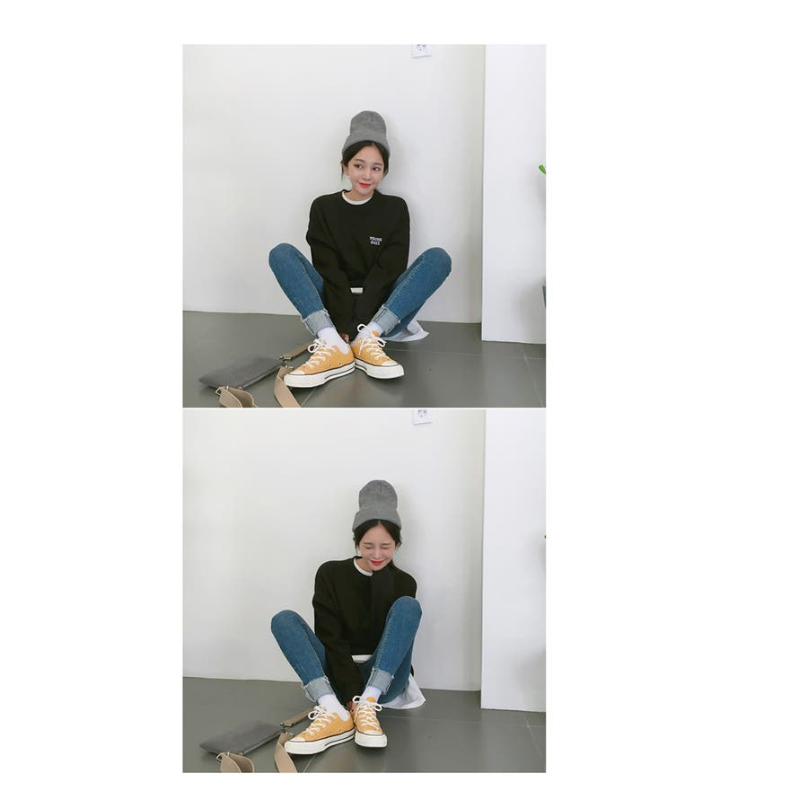 ※新色追加!※MICHYEORA(ミチョラ)ワンポイントロゴトレーナー ブラック カーキ ベージュ 黒 緑 長袖トレーナートップスワンポイント ワンポイントロゴ オルチャン レディース ファッション 韓国 韓国ファッション フェス 秋冬 秋 冬 6