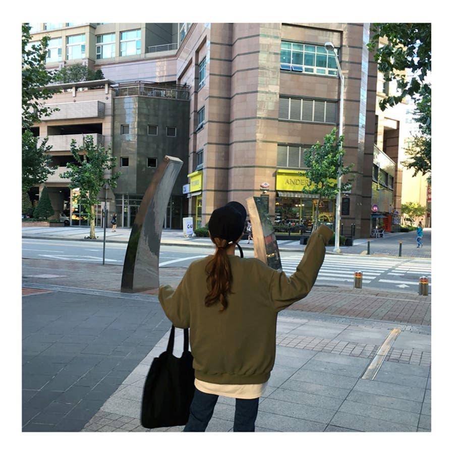 ※新色追加!※MICHYEORA(ミチョラ)ワンポイントロゴトレーナー ブラック カーキ ベージュ 黒 緑 長袖トレーナートップスワンポイント ワンポイントロゴ オルチャン レディース ファッション 韓国 韓国ファッション フェス 秋冬 秋 冬 10