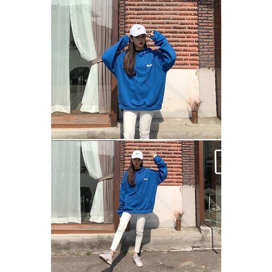 MICHYEORA(ミチョラ)ONEWAYフードトップス 韓国 韓国ファッション グリーン グレー ブルー フード トップスパーカー